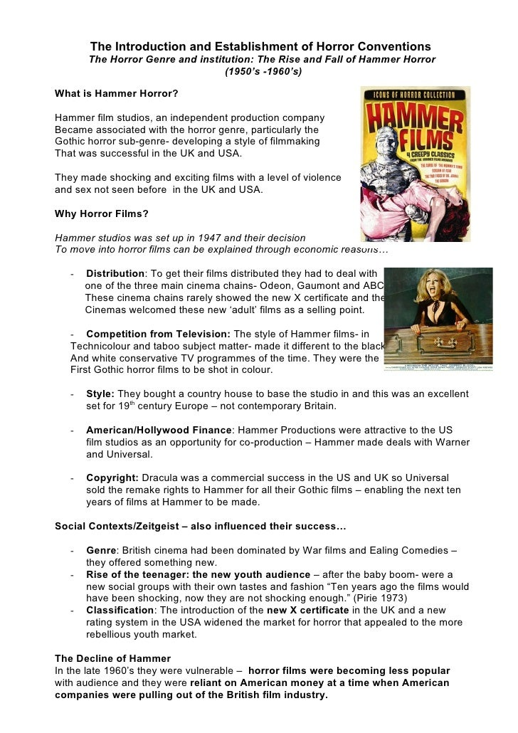 The Introduction and Establishment of Horror Conventions        The Horror Genre and institution: The Rise and Fall of Ham...