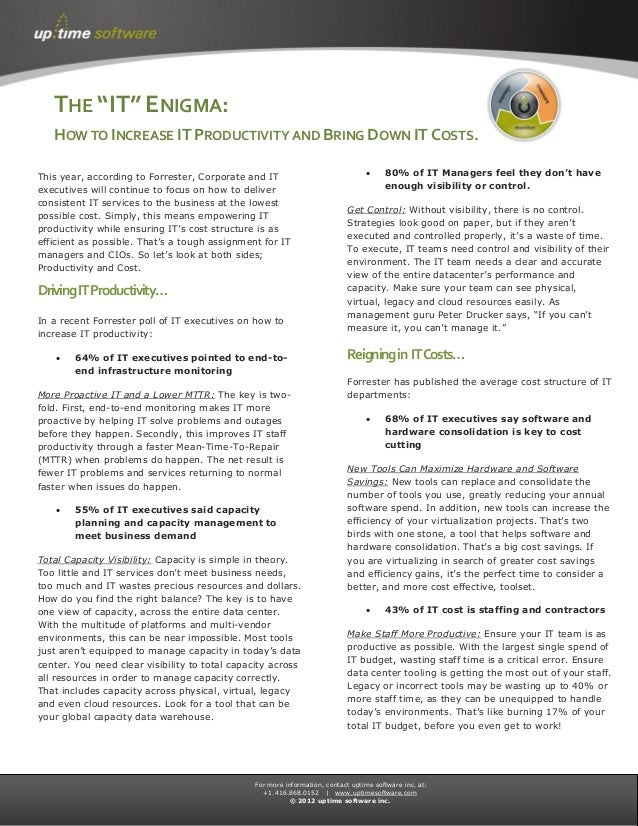 The IT Enigma: How to increase it productivity and bring down it costs