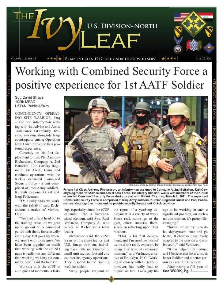 U.S. Division-North                 Volume 1, Issue 38                       Established in 1917 to honor those who serve ...