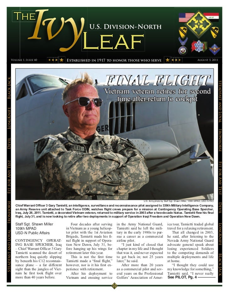 U.S. Division-North                 Volume 1, Issue 40                         Established in 1917 to honor those who serv...