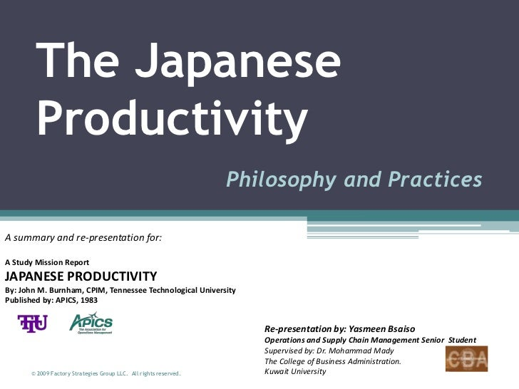 The Japanese        Productivity                                                                  Philosophy and Practices...