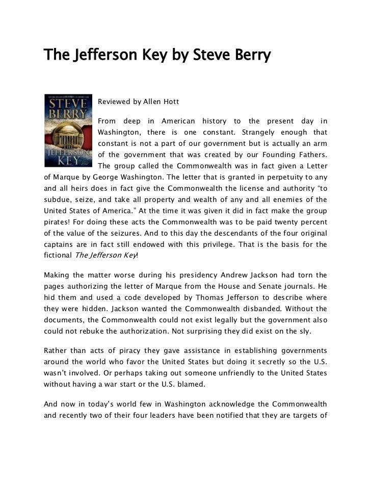 The jefferson key by steve berry