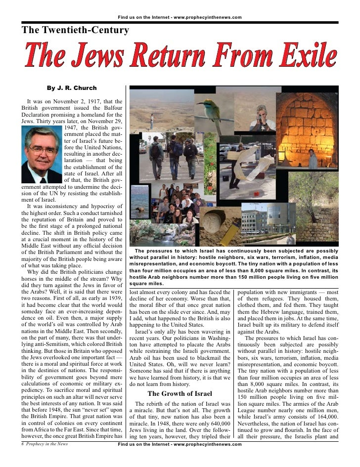 Find us on the Internet - www.prophecyinthenews.com   The Twentieth-Century   The Jews Return From Exile             By J....