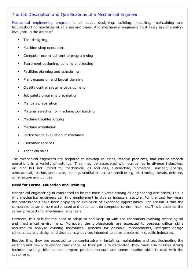 Job qualifications