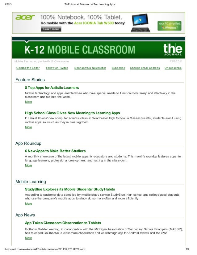 1/8/13 THE Journal: Discover 14 Top Learning Apps 1/2thejournal.com/newsletters/k12mobileclassroom/2011/12/20111208.aspx M...