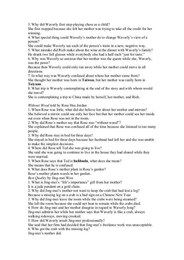 The joy luck club essay outline