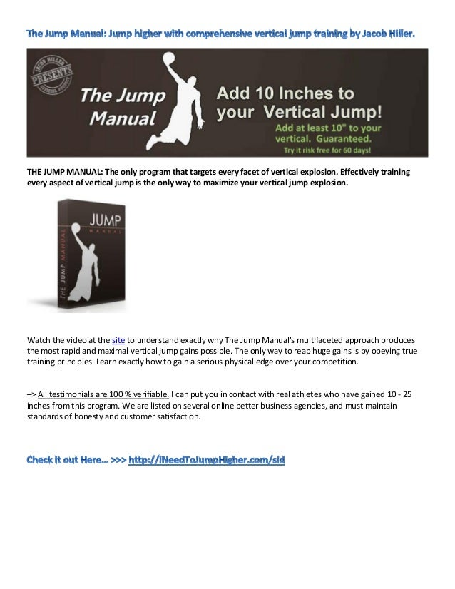 THE JUMP MANUAL: The only program that targets every facet of vertical explosion. Effectively trainingevery aspect of vert...