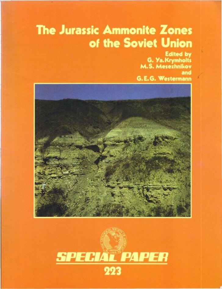 The Jurassic Ammonite Zones     of the Soviet Union                     Editedby                 G. Va. Krymholts         ...