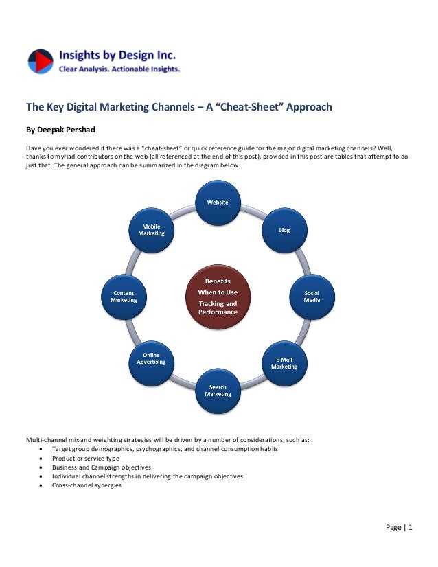 "Page | 1 The Key Digital Marketing Channels – A ""Cheat-Sheet"" Approach By Deepak Pershad Have you ever wondered if there w..."
