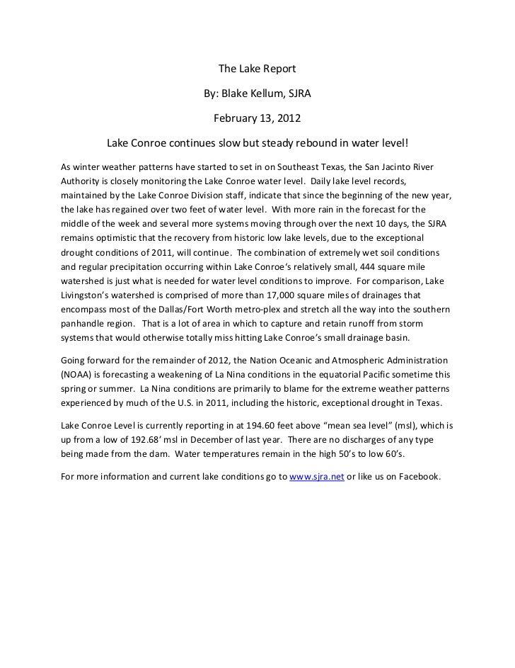 The Lake Report                                   By: Blake Kellum, SJRA                                     February 13, ...
