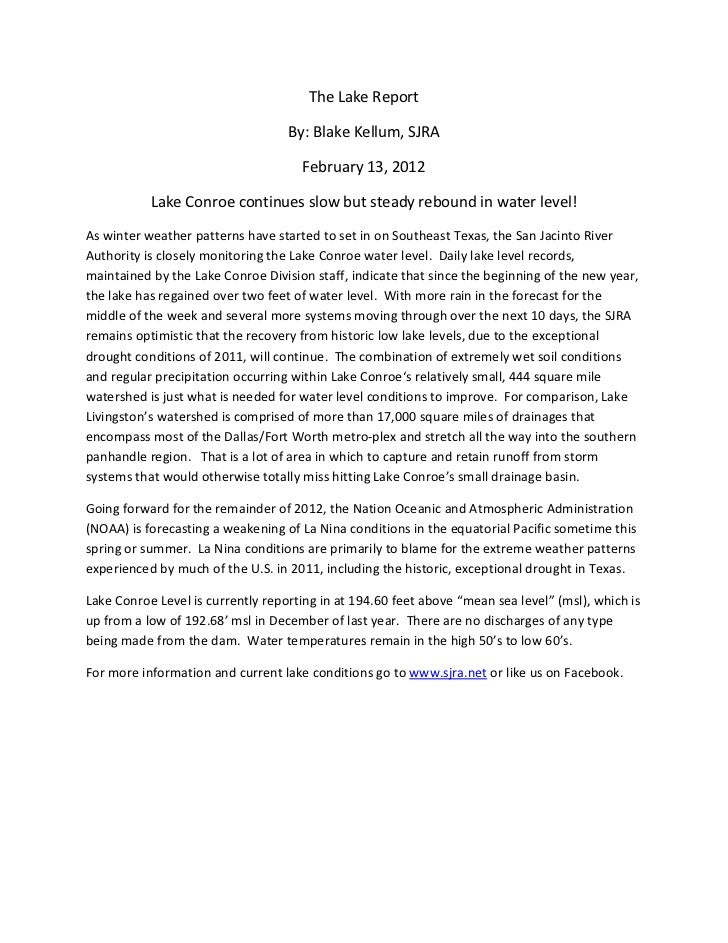 The lake report 2-13-12