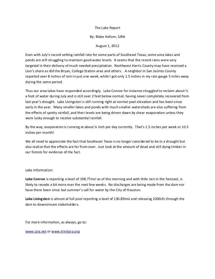 The Lake Report 08-01-12