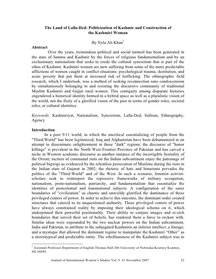 Arlicle: The Land of Lalla-Ded: Politicization of Kashmir and Construction of the Kashmiri Woman
