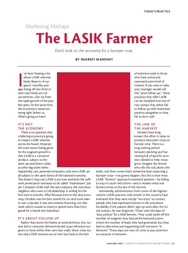 TODAY'S PRACTICE      Marketing Mishaps              The LASIK Farmer                               Don't look to the econ...