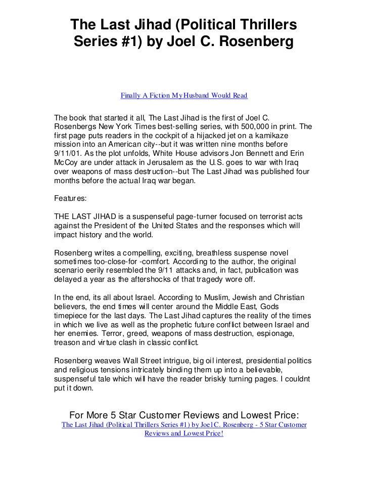 The Last Jihad (Political Thrillers    Series #1) by Joel C. Rosenberg                      Finally A Fiction My Husband W...
