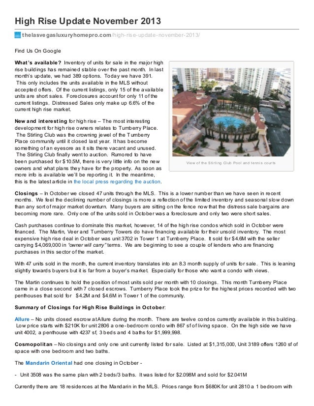 Thelasvegasluxuryhomepro.com high rise-update_november_2013
