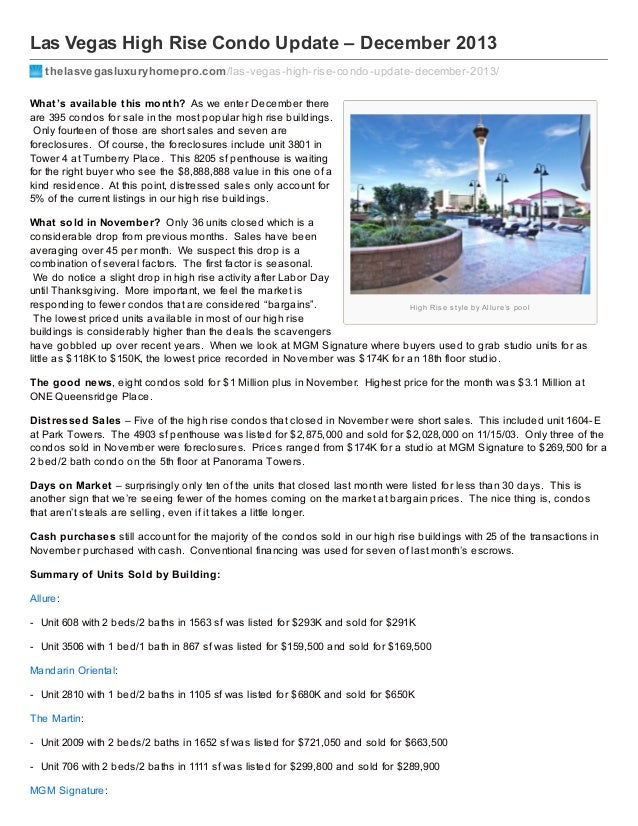 Las Vegas High Rise Condo Update – December 2013 thelasvegasluxuryhomepro.com /las-vegas-high-rise-condo-update-december-2...