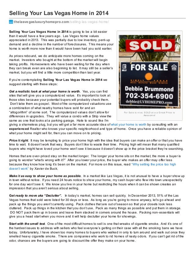 Selling Your Las Vegas Home in 2014 thelasvegasluxuryhomepro.com /selling-las-vegas-home/ Selling Your Las Vegas Home in 2...
