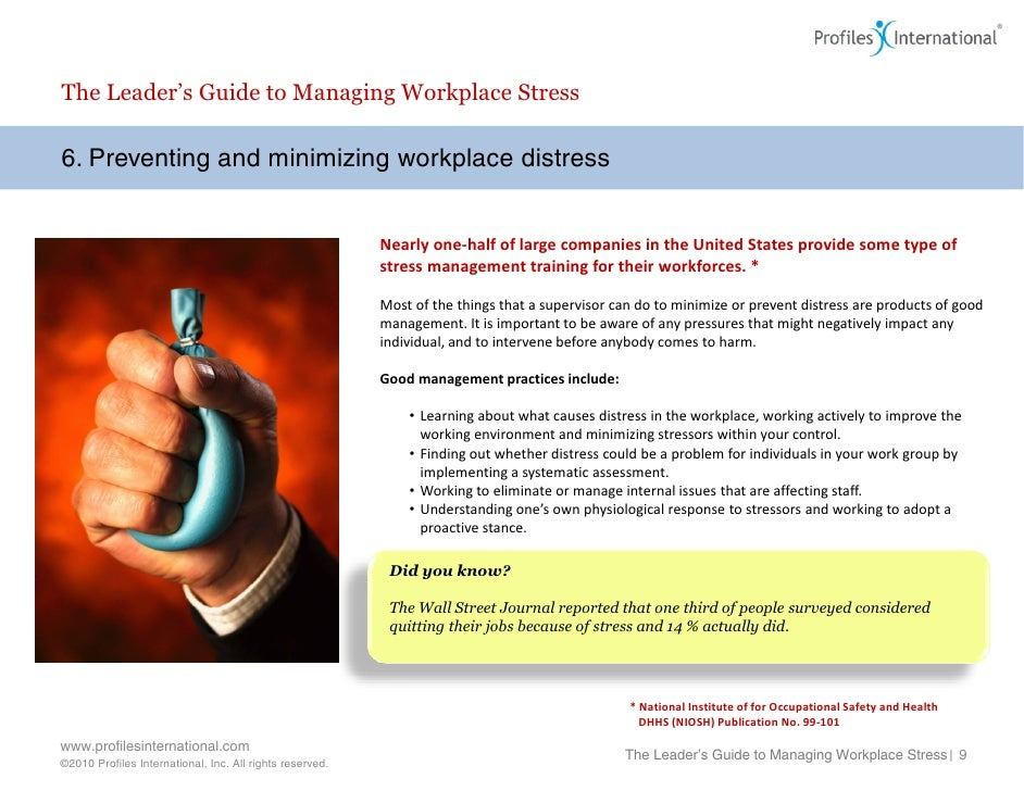 the characteristics causes effects and methods of reducing and preventing stress in a workplace This rfi solicits information on a range of questions relevant to preventing workplace violence and determining employers can identify methods for reducing the.