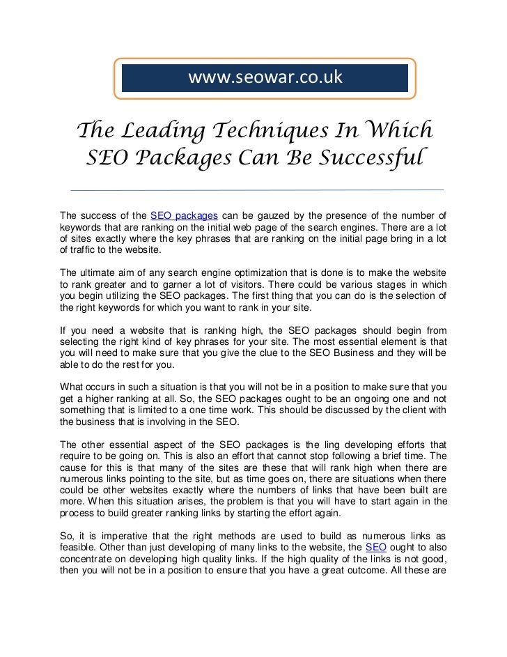 The leading techniques in which seo packages can be successful