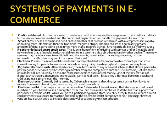 enhancement of the electronic payment system