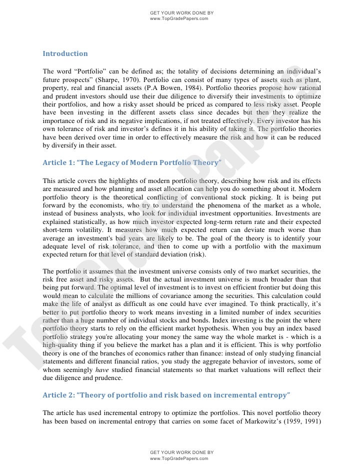 The legacy of modern portfolio theory academic essay assignment - www ...
