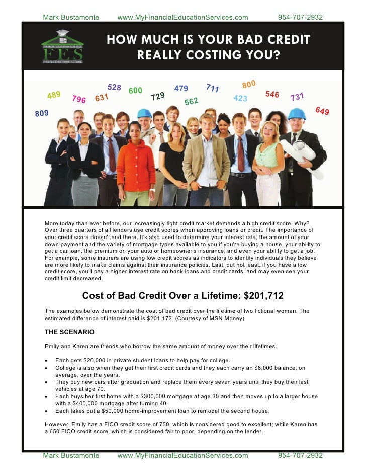bad credit -The life time cost of