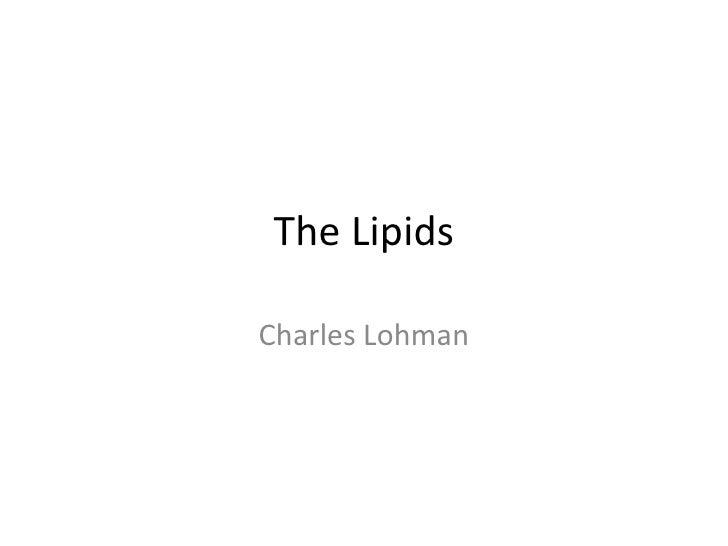 The Lipids Charles Lohman