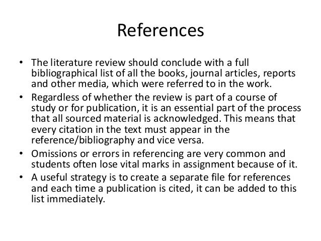 Starting a literature review - University of Reading