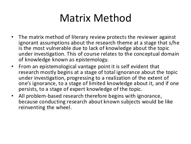 Sample literature review matrix