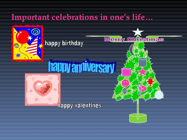 Important celebrations in one's life… Merry Christmas happy birthday happy valentines happy anniversary