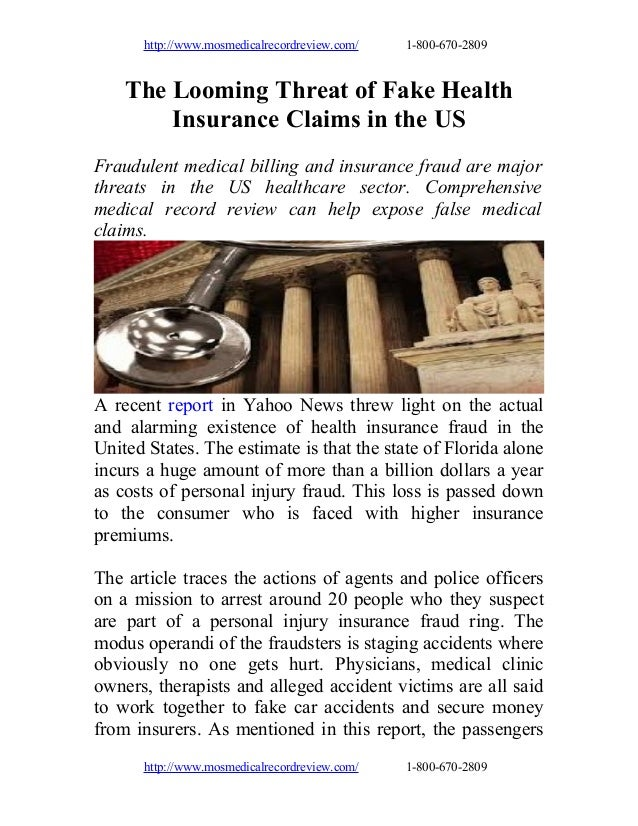 The looming threat of fake health insurance claims in the us