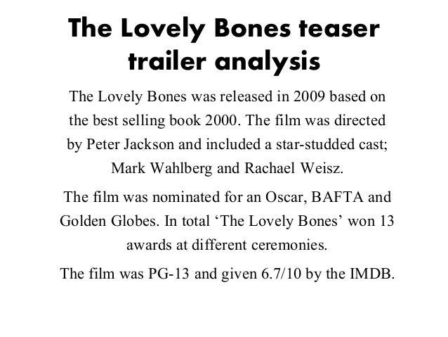 theme on the lovely bones The lovely bones trailer  play and listen peter jackson adapte le roman la nostalgie de lange d alice sebold dont le theme principal est le deuil et ses.