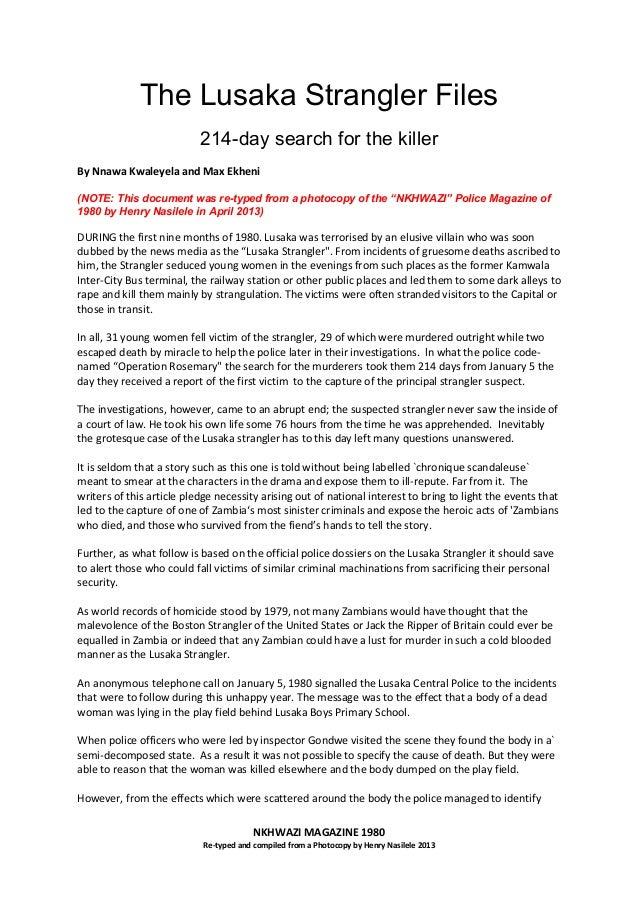 The Lusaka Strangler Files - Revisited