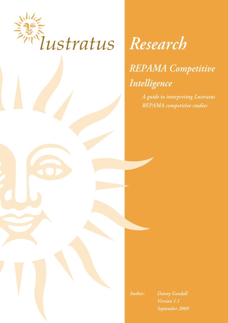 Research REPAMA Competitive Intelligence      A guide to interpreting Lustratus      REPAMA competitive studies     Author...