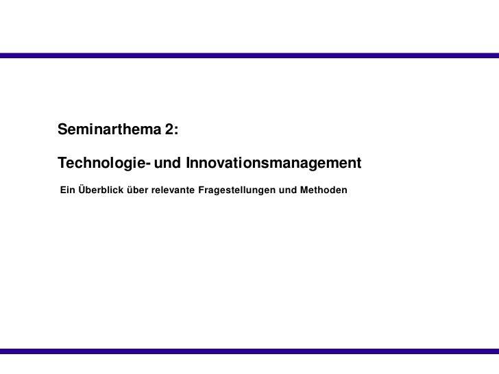 Technologie Und Innovationsmanagement