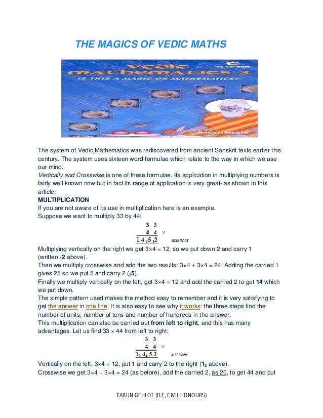 The magic of vedic maths