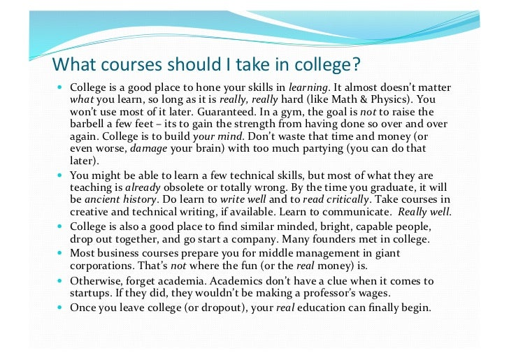 What course to take in college?