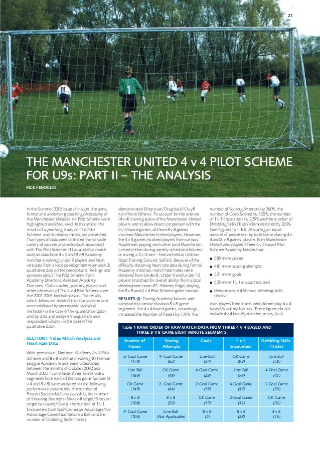 21THE MANCHESTER UNITED 4 v 4 PILOT SCHEMEFOR U9s: PART II – THE ANALYSISRICK FENOGLIOIn the Summer 2003 issue of Insight,...