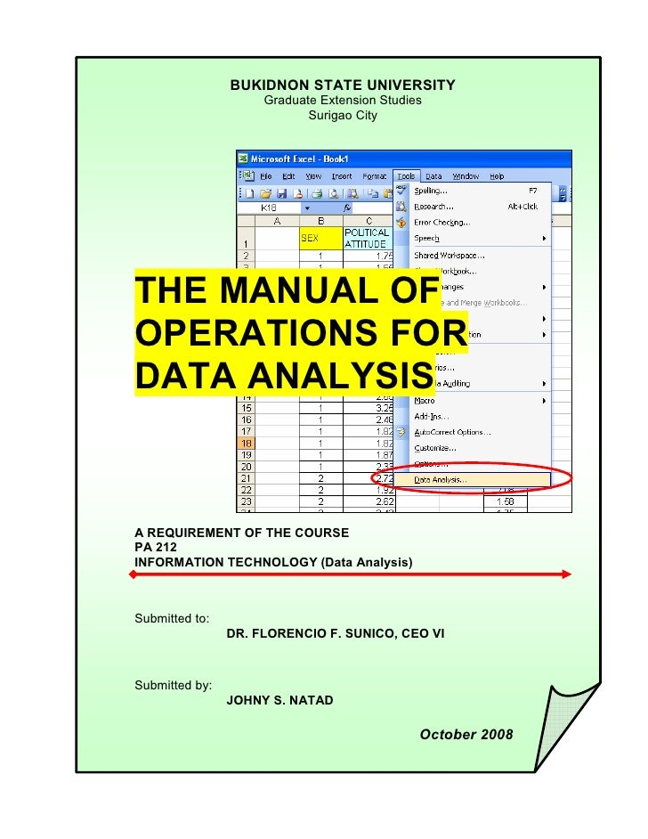 The Manual Of Operations For Data Analysis