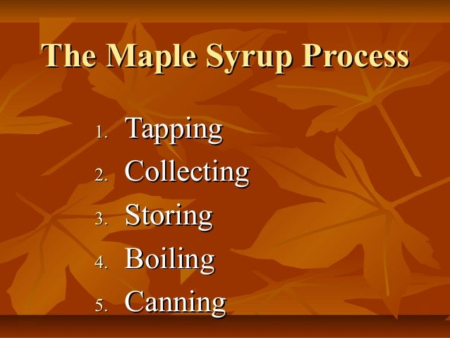 The Maple Syrup ProcessThe Maple Syrup Process1.1. TappingTapping2.2. CollectingCollecting3.3. StoringStoring4.4. BoilingB...