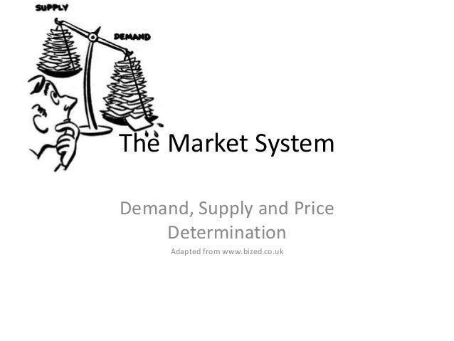 The Market System Demand, Supply and Price Determination Adapted from www.bized.co.uk