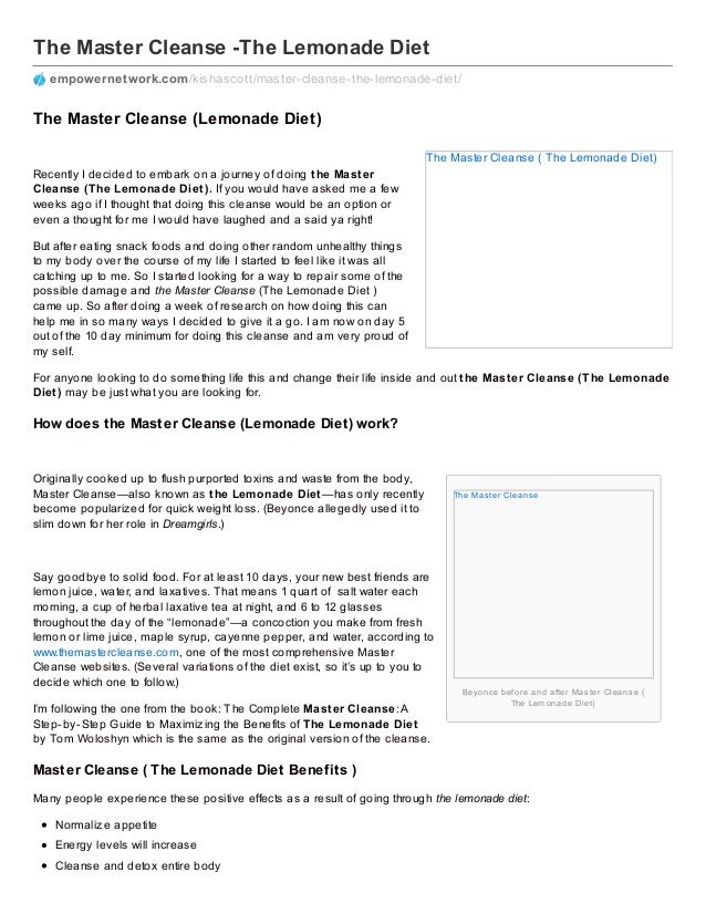 The Master Cleanse ( The Lemonade Diet) The Mas ter Cleans e Beyonce before and after Mas ter Cleans e ( The Lem onade Die...