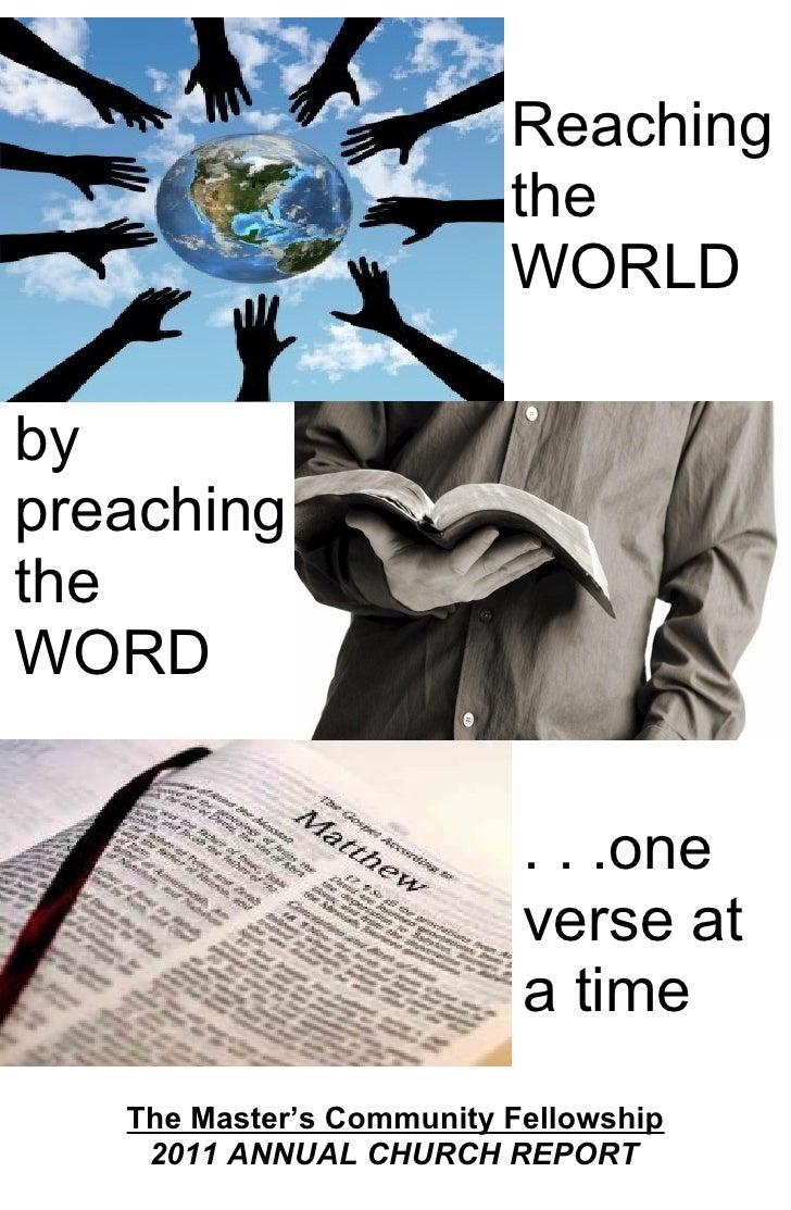 Reaching                          the                          WORLDbypreachingtheWORD                           . . .one ...