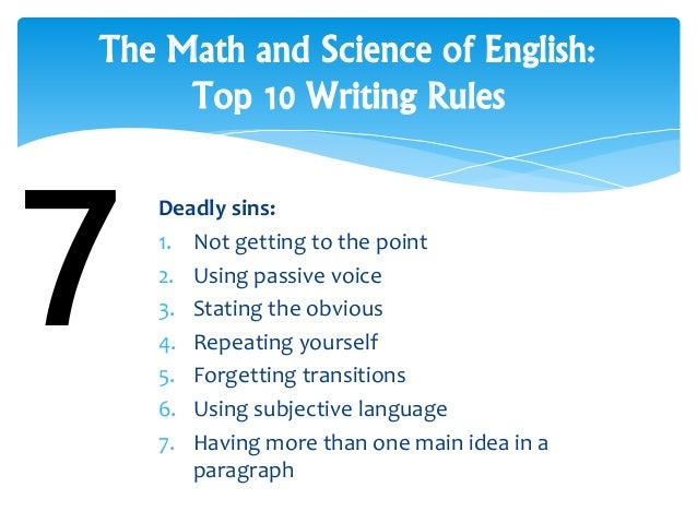 basic essay rules Visual guide to essay writing shows you excellently how to commu- and always remember the golden 'creativity rule' — all rules are meant to be broken.