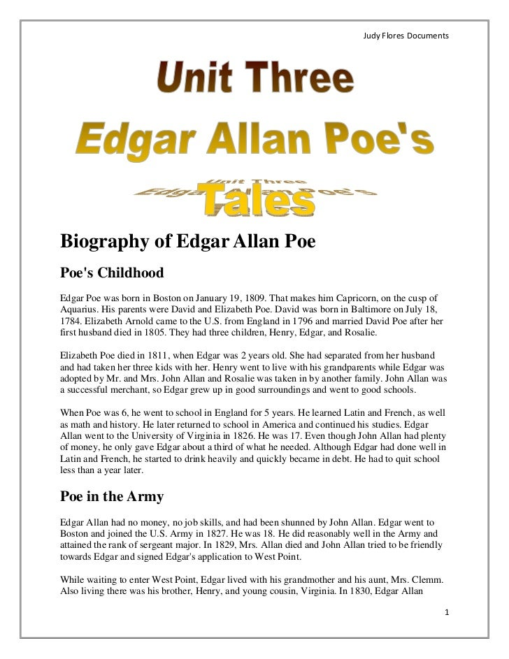an autobiography of the life of edgar allan poe Edgar allan poe was an american author, poet, editor and literary critic, who was also associated with the american romantic movement check out this biography to.