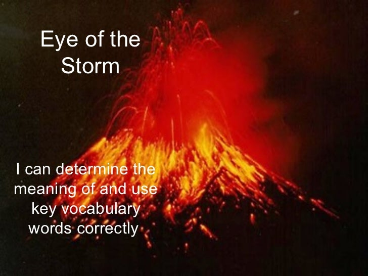Eye of the     StormI can determine themeaning of and use   key vocabulary  words correctly.