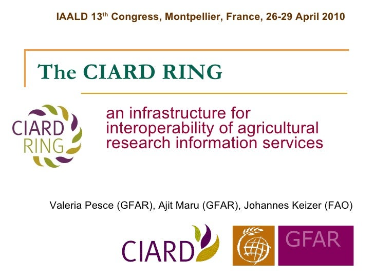 The CIARD RING an infrastructure for interoperability of agricultural research information services Valeria Pesce (GFAR), ...