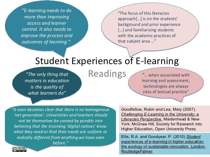 """""""E-learning needs to do                           """"The focus of this literacies      more than improving                  ..."""