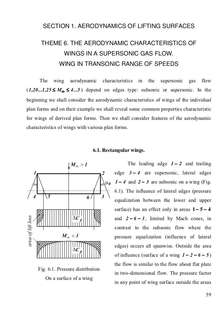 SECTION 1. AERODYNAMICS OF LIFTING SURFACES       THEME 6. THE AERODYNAMIC CHARACTERISTICS OF                    WINGS IN ...